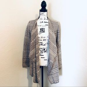 LUCKY BRAND BROWN AND CREAM DRAPE CARDIGAN SMALL